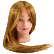 Neverland Professional 60cm 80% Real Human Hair Hairdressing Equipment Styling Head Doll Mannequin Training Head Tools Braiding Cutting Student Practise Model with Clamp