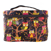 YESURPRISE Ladies Owl Pattern Cosmetic Makeup Bag Case Travel Toiletry Wash Hand Beauty Bag Black Fashion Gift