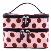 Chic Cute Lady's Dot Pattern Makeup Case Double Layer Cosmetic Hand Bag Tool Storage Toiletry