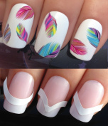 WATER NAIL TRANSFERS DECALS STICKERS ART SET #619 & 172. **plus x48 nail tip guides!!** x20 COLOURFUL RAINBOW FEATHER PLUMES TATTOO WRAPS & x48 FRENCH MANICURE TIP GUIDES! CAN BE USED WITH NATURAL GEL ACRYLIC STICK ON NAILS! OR WITH GLITTER DUST CAVIAR ..