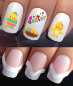 WATER NAIL TRANSFERS DECALS STICKERS ART SET #637 & 172. **plus x48 nail tip guides!!** x24 EASTER CHICKS IN NEST AND EGGS TATTOO WRAPS & x48 FRENCH MANICURE TIP GUIDES! CAN BE USED WITH NATURAL GEL ACRYLIC STICK ON NAILS! OR WITH GLITTER DUST CAVIAR B ..