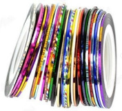 30Pcs Mixed Colours Rolls Striping Tape Line Nail Art Tips Decoration Sticker