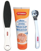 TITANIA® Foot Pedicure Set Hard Skin Remover Tools Kit - Include Foot Balsam Cream, Skin File and Corn Slicer - Made In Germany