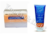 (GC2) Premium Maximum Whitening/Peeling Soap w/ Glutathione, Arbutin, and Kojic acid + Ivory Caps SPF 30 Sun Protection