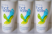 3 x 75g Avon Footworks menthol and tea tree deodorising foot powder