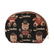 Signare Womens Fashion Canvas Tapestry Cosmetic Make-up Bag in London Bear Design