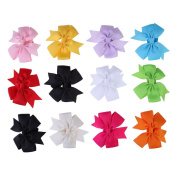 Chinatera 12 PCs Baby Girl Toddler Cute Bowknot Flower Headband Hair Band Headwear