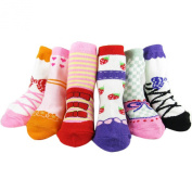 KF Baby Anti-Slip Baby Girl Shoe Socks, 6 pairs, for 12 - 24 Months