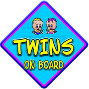 TOON BOY & GIRL TWINS Baby on Board Car Window Sign