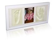 BRAND NEW WOODEN WALNUT PICTURE FRAME WHITE FOOT HAND PRINT CASTING KIT LOVELY GIFT