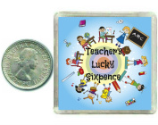 Teachers Lucky Silver Sixpence Gift. Includes presentation keepsake box, great inspirational good luck charm, present idea for xmas, birthdays, end of term or thank you.