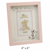 Button Corner MDF Photo Frame My 1st Birthday Pink 10cm x 15cm