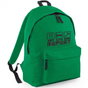 Inspired Eat Sleep Repeat play Mine Kelly Green Embroidery on BAG, Rucksacks, kids bags