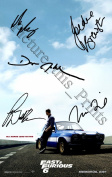 Fast & Furious 6 Signed Photo Print Cast Signed 30cm x 20cm Paul Walker, Vin Diesel
