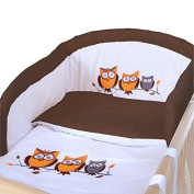LCP Kids 1319 Owls brown Baby Bedding Complete Set XXL 9 pcs 135x100 - embroidered subject Cot Bumper Canopy cotton