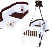 LCP Kids 1316 Brown Bear Baby Bedding Complete Set XXL 9 pcs 135x100 - embroidered subject - Cot Bumper and Canopy - cotton surface