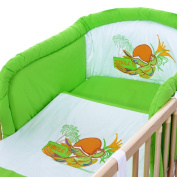 LCP Kids 1315 Parrot Baby Bedding Complete Set XXL 9 pcs 135x100 - embroidered subject - Cot Bumper and Canopy - cotton surface
