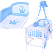 LCP Kids 1317 Elephant Baby Bedding Complete Set XXL 9 pcs 135x100 - embroidered subject - Cot Bumper and Canopy - cotton surface