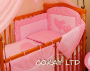 Lovely 5 Pcs Baby Bedding Set/Bumper/Cases/Pillow/Quilt To Fit Cot Bed 140X70Cm