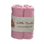 2 x Baby Pram/Crib/ Moses Basket Jersey Fitted Sheet 100% Cotton Pink 40x80cm