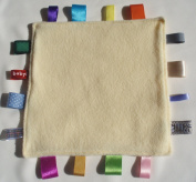 Baby taggie security blanket, taggy baby comforter -Lemon