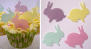 Easter Bunny Cake Decorations - Edible Wafer Bunny Cake Toppers - Spring Pastel Colours x 24