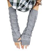 JOVANA Women Knitted Braided Long Winter Fingerless Gloves Wrist Warm Warmer Mitten