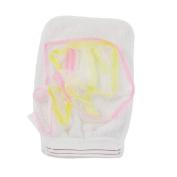 FOREVER YUNG Exfoliating Stripes Decor Orange White Sponge Bath Glove Cleaner