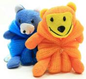 Kids Mesh Sponge Bath and Shower Loofah Lion and Bear