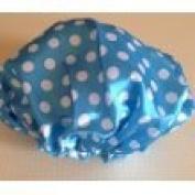 Shower Cap Bath Cap Blue and White Polka Dot Insulated Shower Cap