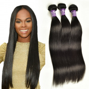 Brazilian Silky Straight Hair Unprocessed Human Virgin Hair Remy Hair Extension Weave Weft #1B-Off Black 100g/bundle 3 Bundles