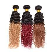 High Quality Ombre Brazilian Curly Hair Extension 18-60cm 100% Brazilian Human Hair Weave Afro Kinky Curly 1pcs/lot, 1b-bug#(burgundy)