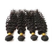 SpringHair 6A Virgin Brazilian Human Hair Extensions 4 Bundles Weave Remy Weft Deep Wave Natural Black 46cm + 50cm + 60cm + 60cm