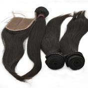LaNova Beauty Human Hair Extension,Sliky Straight Hair Extention 4pcs 60cm and 1pc Lace Closure (4*4) 46cm , Natural Colour,5pcs/lot Human Hair Extensions Cheap