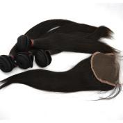 LaNova Beauty Human Hair Extension,Sliky Straight Hair Extention 4pcs 46cm and 1pc Lace Closure (4*4) 41cm , Natural Colour,5pcs/lot Remi Human Hair