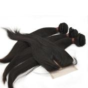 LaNova Beauty Cheap Hair Extensions,Sliky Straight Hair Extention 3pcs 36cm and 1pc Lace Closure (4*4) 30cm , Natural Colour,4pcs/lot