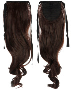 Medium Brown 46cm Curly One Piece Tie Up Ponytail Clip in Hair Extensions Hairpiece Binding Pony Tail Extension for Girl Lady Woman
