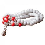 Tibetan Buddhist 108 Fimo White Beads Prayer Necklace Meditation Mala Bracelet with Pendant