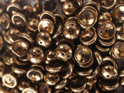 30pcs Piggy -Czech Glass Two-holes Pressed Beads, Dome-shaped 4x8 mm Jet Bronze Lustre