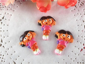 10pcs/lot Dora Resin for Bows, Flat Back Resin Cabochons for Hair Bows Cellphone Cases Crafts Decorations and Scrapbooking