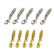 BCP Pack of 10 Pcs Gold and Silver Colour Tone Magnetic Lobster Clasp for Jewellery Necklace Bracelet