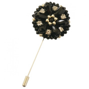 Sunny Home Men's Crystal Beads Stick Brooch Pin Boutonniere for Suit Tuxedo Corsage