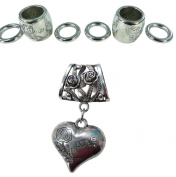 3D love heart DIY scarf jewellery pendant slide bail rings set. Alloy charm tube CCB beads accessory findings for scarf jewellery necklace making.