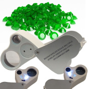 60X 30X Magnifier Loop Magnifying Glass Jeweller Eye Loupe Lens LED Light 2in1