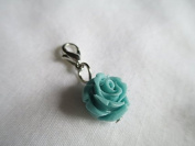 "Rose Dangle ""Light Blue Dangle"" Floating Locket Dangle"