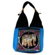 Hippie Elephant Sling Shoulder Bag Purse Thai Top Zip Handmade New Colour : Black & Blue