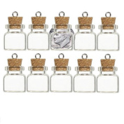 GLASS BOTTLE VIAL CORK size choice AMULET CHARM WICCA POTION MEMORY STORAGE 10pk (20x18mm