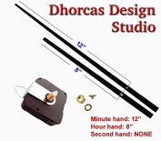 Dhorcas Quartz Clock Movement Kit for Replacement, 0.6cm Threaded Motor and Long 30cm Hands with Hanger