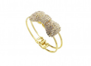 Easting Full Diamond Bow Crystal Bracelet Bangle Golden Plated Jewellery Accessories for Women Female
