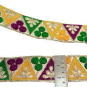 Embroidered Multicolor Trim Craft Supply 5.5 Cm Wide Sari Ribbon By The Yard